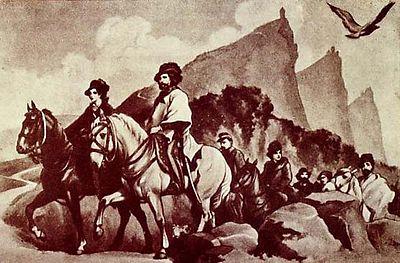 Giuseppe ed Anita Garibaldi in marcia da Roma all'Adriatico