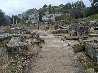 Glanum - A Roman road paved with blocks of stone ran from north to south through the center of Glanum. Under the street was a water conduit which carried away rainwater and sewage.