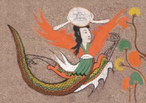 Korean painting - A depiction of the moon goddess from a Goguryeo tomb.