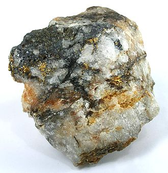 Dahlonega, Georgia - Historic specimen of High-grade gold ore from the Dahlonega mines