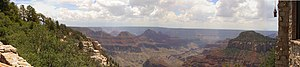 Arizona State Route 67 - View of the Grand Canyon from Grand Canyon Lodge near Bright Angel Point