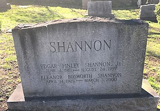 Edgar F. Shannon Jr. - Shannon's gravestone at the University of Virginia Cemetery in Charlottesville, Virginia.
