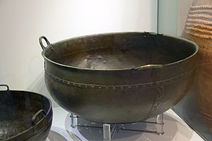 Minoan art - Bronze cauldron from Tylissos House A, dated LM IB (Neopalatial period). Heraklion Archaeological Museum.