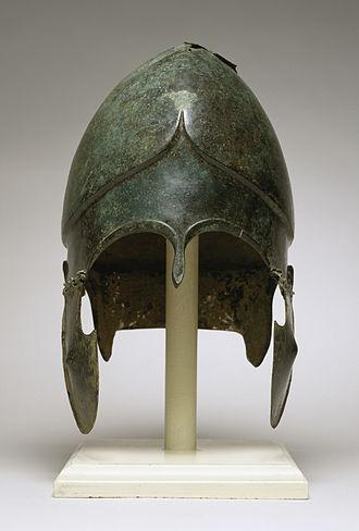 Chalcidian helmet - Chalcidian type helmet, circa 500 BC, exhibit in The Walters Art Gallery, Baltimore.