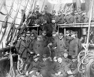 Adolphus Greely -  The six survivors of the U.S. Army's Greely Arctic expedition with their U.S. Navy rescuers, at Upernavik, Greenland, 2–3 July 1884. Probably photographed on board the USS Thetis.