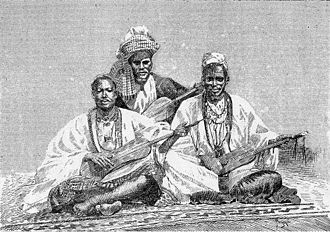 Griot - Griots of Sambala, king of Médina (Fula people, Mali), 1890.