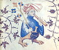 Grotesque flutist, French illuminated manuscript illustration, 1408, MS Douce 144, f.28v..jpeg