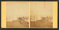 Group of people sitting on rocks, in front of a tent and a tipi, from Robert N. Dennis collection of stereoscopic views.png