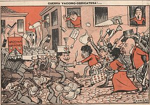Vaccine Revolt - The Vaccine Revolt in a cartoon of Leonidas, published in the journal O Malho on 10/29/1904.