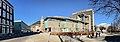 Gulating Lagmannsrett courthouse (Appeal Court) at Gulatings plass, Christies gate, Kaigaten, Den gamle hovedbrannstasjonen (old firestation), Bergen rådhus (city hall), etc. in Bergen, Norway. Cropped, distorted panorama 2018-03-17 B.jpg