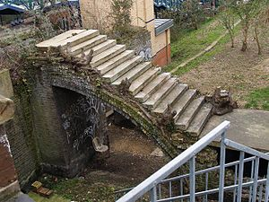 Lillie Bridge Grounds - steps to the old canal basin to the North of Lillie Grounds