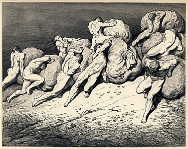 Gustave Doré - Dante Alighieri - Inferno - Plate 22 (Canto VII - Hoarders and Wasters).jpg
