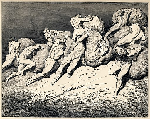 Gustave Doré - Dante Alighieri - Inferno - Plate 22 (Canto VII - Hoarders and Wasters)
