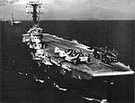 HMAS Melbourne (R21) leads USS Bennington (CVS-20) and HMS Ark Royal (R09) during the SEATO exercise Sea Devil in 1962.jpg