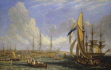 Oil painting of a three three-masted sailing ships seen from side against a background of cliffs, with many small boats filled with people in the foreground, and a larger single-masted boat in the right foreground.