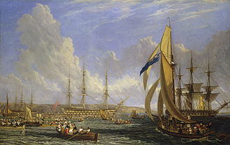 HMS Bellerophon (1786) - Scene in Plymouth Sound in August 1815, an 1817 painting by John James Chalon. Bellerophon is at the centre of the picture, surrounded by crowds of people in small boats who have come to see Napoleon.