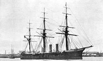 Hastings Yelverton - The armoured frigate HMS ''Lord Warden'', flagship of the Mediterranean Fleet, which Yelverton commanded in the early 1870s