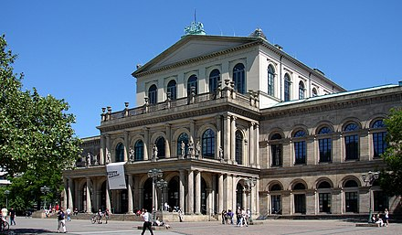 "The Staatsoper Hanover (""state opera"") is housed in its classical 19th century opera house. Hannover Opernhaus.jpg"