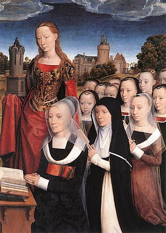 Agnes van den Bossche - Image: Hans Memling Triptych of the Family Moreel (detail) WGA14932