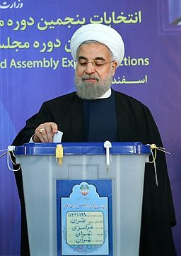 Hassan Rouhani casting his vote for 2016 elections