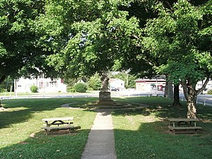 Heathsville, Virginia - The village green, from the porch of the Northumberland County Courthouse