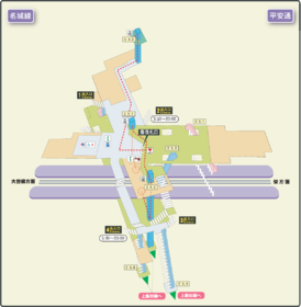 Heian-dori station map Nagoya subway's Meijo line 2014.png
