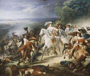 Louis, Grand Condé - Battle of Rocroi, 19 May 1643, the duc d'Enghien ordering his troops to stop fighting the Spanish, who have come to him to surrender