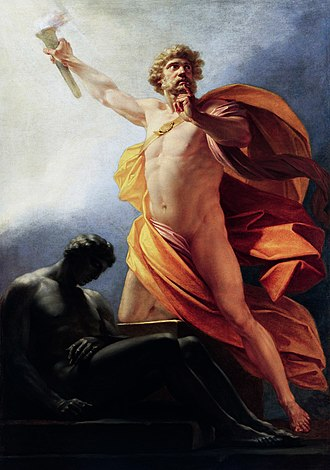 Prometheus - Prometheus Brings Fire by Heinrich Friedrich Füger. Prometheus brings fire to mankind as told by Hesiod, with its having been hidden as revenge for the trick at Mecone.