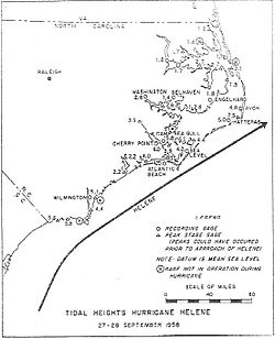 Drawn map showing a portion of a hurricane's path closest to the coast. Cities are labeled, and measurements of storm surge in certain places are shown.