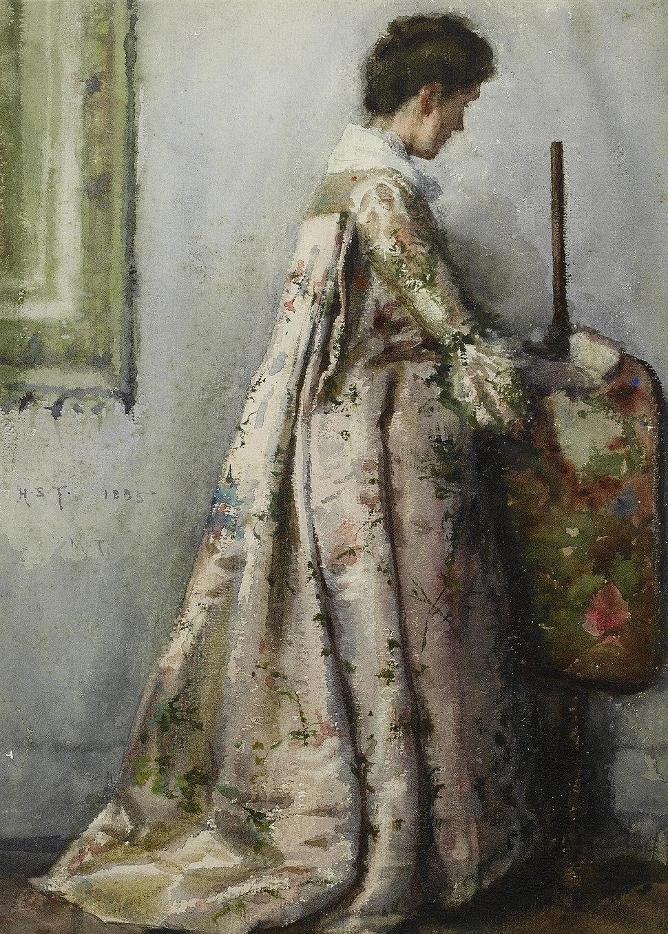 Henry Scott Tuke - The silk gown, Portrait of Maria Tuke Sainsbury