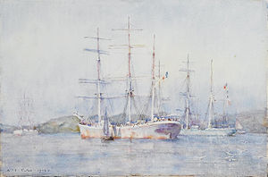 Henry Scott Tuke - Two French barques at their anchorage in Carrick Roads.jpg