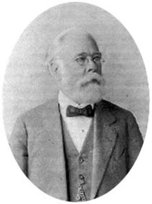 Older, bearded man in suit, spectacles and bow tie