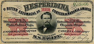 Hesperidina - The Hesperidina label (1866) was printed in the US to avoid falsifications.