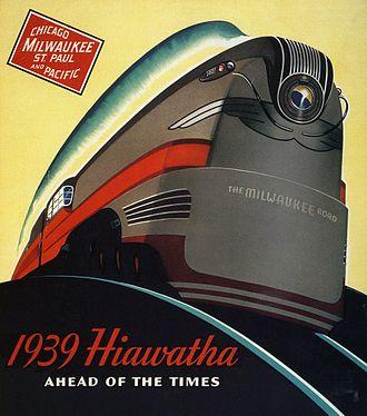 Hiawatha (train) - Stylized 1939 advertisement featuring a streamlined 4-6-4 class F7 steam locomotive.