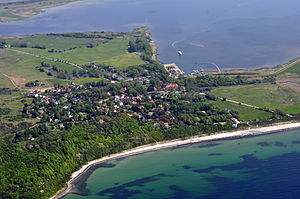Bodden - Island of Hiddensee, Vitte Lagoon in the rear, Baltic Sea beach in the front.
