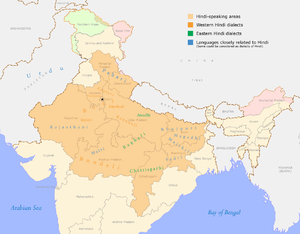 Map of the (major) dialects of Hindi.