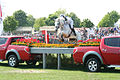 Hinrich Romeike (GER) jumping the Mitsubishi trucks (Badminton Horse Trials 2007).jpg