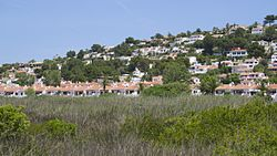 View of the village from the salt marshes