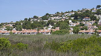 Son Bou - View of the village from the salt marshes