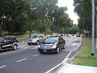 Holland Road, Singapore - Holland Road eastbound, near the Tanglin entrance of the Singapore Botanic Gardens.