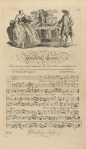 """George Bickham the Younger - Engraving for the song """"The Grateful Lover"""", 1737"""