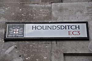 Houndsditch - City of London Corporation sign marking the modern Houndsditch