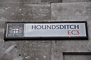 Houndsditch street in London, England