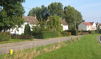 Alpheton - Houses in Alpheton and a stretch of the old road