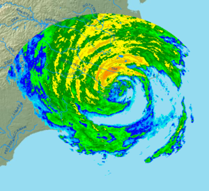 English: Radar image of Hurricane Irene shortl...