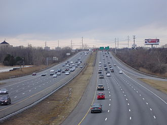 Interstate 95 in Pennsylvania - I-95, looking south toward the interchange with Interstate 476