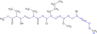 IUPAC nomenclature of organic chemistry - Image: IUPAC naming example without carbons