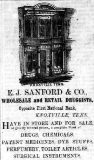 Edward J. Sanford - 1866 ad for Sanford's store in the Knoxville Whig