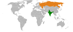 Map indicating locations of India and Russia