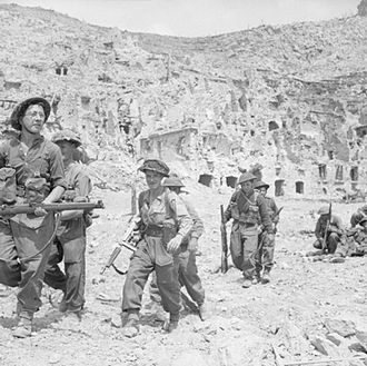 11th Infantry Brigade and Headquarters South East - East Surrey Regiment enter the ruins of Cassino, Italy, 18 May 1944